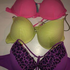3 Victoria's Secret push up bikini tops 34c/m